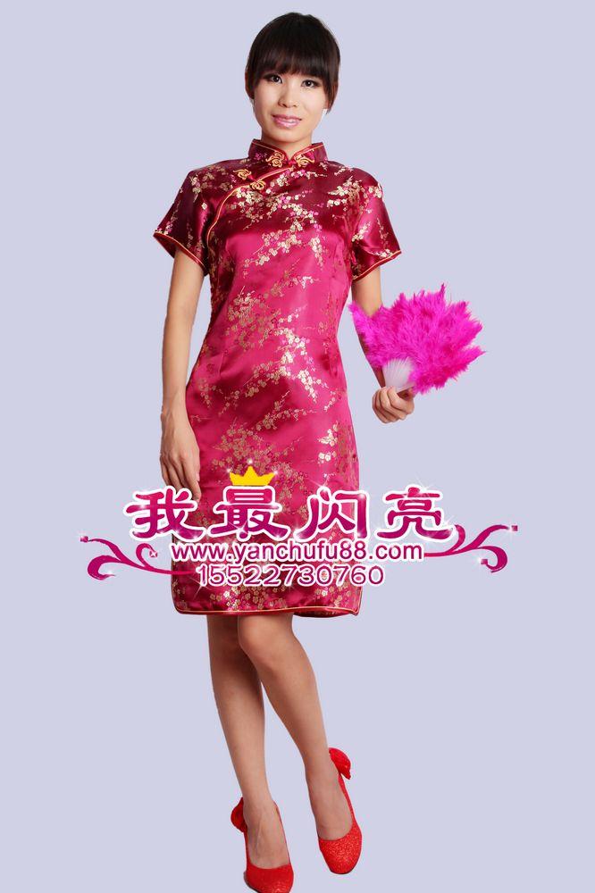 短旗袍酒红梅花